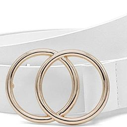 Fashion Designer Belts for Women Leather Belts for Jeans Dress Pants with Gold Double O-Ring Buck... | Amazon (US)
