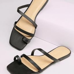 Square Toe Strappy Flat Slide Sandals | SHEIN