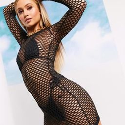 ASOS DESIGN jersey fishnet beach cover up with thumb holes in black | ASOS (Global)