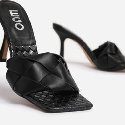 Turntup Woven Square Peep Toe Mule In Black Faux Leather   EGO Shoes (US & Canada)