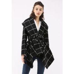 Prairie Grid Rabato Coat in Black | Chicwish
