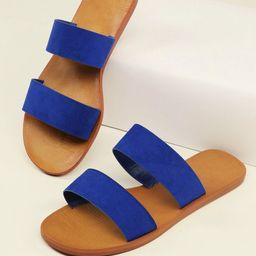 Open Toe Two Band Flat Slide Sandals | SHEIN