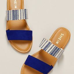 Blue Striped Duo Band Slip On Flat Sandals | SHEIN