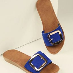 Buckle Detail Single Band Flat Slide Sandals | SHEIN