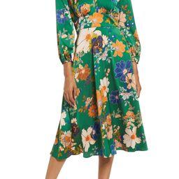 Floral Long Sleeve Midi Dress   Nordstrom