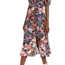 Floral Puff Sleeve Midi Dress   Nordstrom