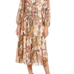 Long Sleeve Tiered Chiffon Midi Dress   Nordstrom