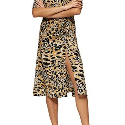 Leopard Print Mock Wrap Midi Dress   Nordstrom