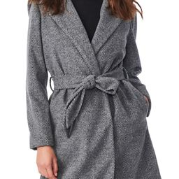 Herringbone Belted Hooded Wrap Coat   Nordstrom