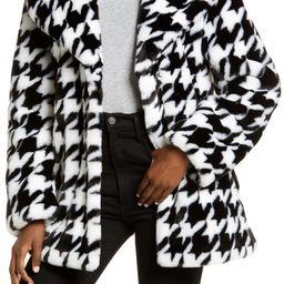 Houndstooth Faux Fur Coat   Nordstrom
