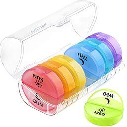 Daily Pill Organizer (Twice-a-Day) - Weekly AM/PM Pill Box,Round Medicine Organizer,7 Day Pill Co... | Amazon (US)