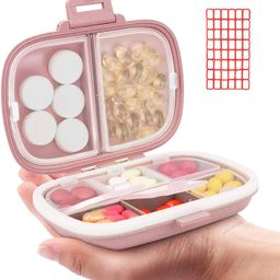 Daily Pill Organizer, 8 Compartments Portable Pill Case, Pill Box to Hold Vitamins, Cod Liver Oil... | Amazon (US)