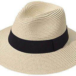 Lanzom Women Wide Brim Straw Panama Roll up Hat Fedora Beach Sun Hat UPF50+   Amazon (US)