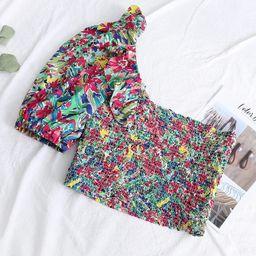 Allover Print One Shoulder Ruffle Shirred Crop Top   SHEIN