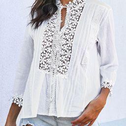 ROTITA Lace Panel Three Quarter Sleeve Crinkle Chest T Shirt | Rotita.com - USD $26.62 | Rotita (UK)