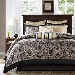 Madison Park Aubrey Cal King Size Bed Comforter Set Bed In A Bag - Black, Champagne , Paisley Jac... | Amazon (US)