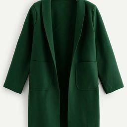 Plus Dual Pocket Shawl Collar Coat   SHEIN