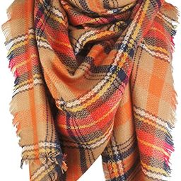 VIVIAN & VINCENT Women's Plaid Blanket Winter Scarf Warm Wrap Oversized Shawl Cape | Amazon (US)