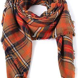 Century Star Women's Stylish Warm Tassels Soft Plaid Tartan Scarf Winter Large Blanket Wrap Shawl | Amazon (US)