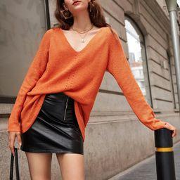 SHEIN Raglan Sleeve Pointelle Knit Sweater   SHEIN