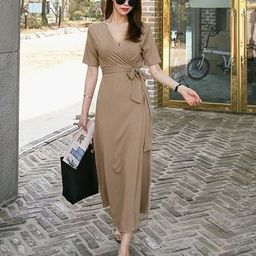 Plain Short-Sleeve Midi Wrap Dress | YesStyle Global