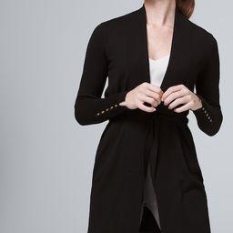 Women's Belted Modern Ribbed Cardigan by White House Black Market, Black, Size XXS   White House Black Market