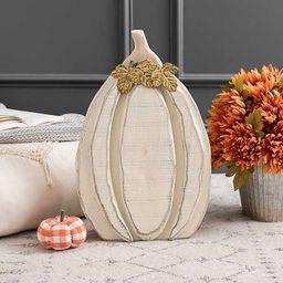 Cream Wood Pumpkin with Metal Leaves, 20 in. | Kirkland's Home
