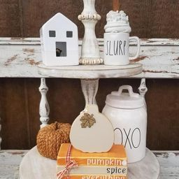 Fall mini wooden books - tiered tray display decor - seasonal farmhouse - mini wood faux stamped ... | Etsy (US)