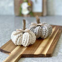 The Farmhouse Pumpkin / Small Crochet Pumpkin / Autumn Harvest Decor / Rustic Farmhouse Decor / F... | Etsy (US)