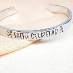 Faith over fear inspiring cuff bracelet- personal message/personal mantra band-hand stamped inspi... | Etsy (US)