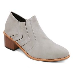 LoLa Shoes Women's Casual boots Grey - Gray Chevron Ankle Boot - Women   Zulily