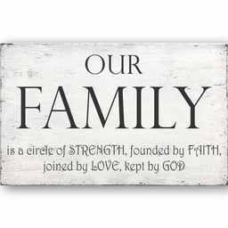 Our Family Is A Circle Of Strength, Founded By Faith, Joined By Love, Kept By God Sign, Family Si... | Etsy (US)
