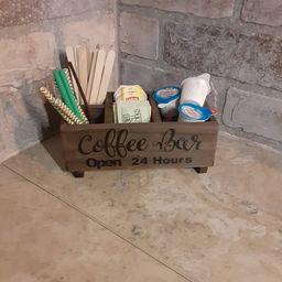 Coffee bar decor / coffee bar caddy / wood caddy / straw | Etsy | Etsy (US)