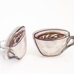 Coffee Stud Earrings coffee lover jewelry coffee cup latte | Etsy | Etsy (US)