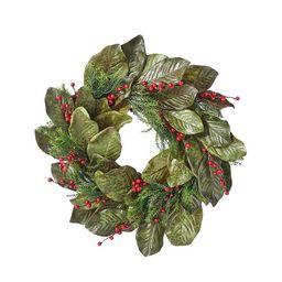 Magnolia Leaf and Berry Christmas Wreath | Kirkland's Home