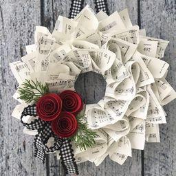Christmas Wreath Black & White Gingham Ribbon Farmhouse | Etsy | Etsy (US)