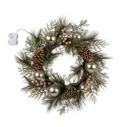 """Berry Holly 24"""" Lighted PVC and PE Blend Wreath 