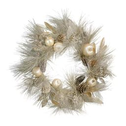 Northlight Champagne Gold Pomegranate and Apple Pine Needle Christmas Wreath - 24-Inch, Unlit | Target