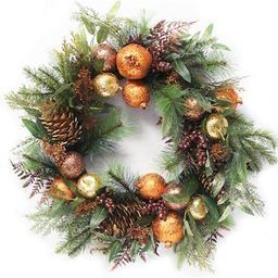 """22"""""""" Artificial Bronze Sequin Fruit Berry & Pinecone Christmas Wreath By Northlight in Gold 