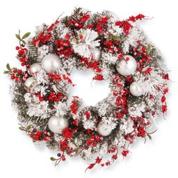 """24in. Red/White Artificial Ornament Christmas Wreath - 24"""" (SNOWY GREEN) 