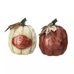 Northlight Set of 2 Brown and Green Autumn Harvest Pumpkin Thanksgiving Tabletop Figurine | Target
