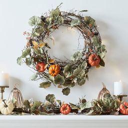 Lit Natural Pumpkin Wreath & Garland | Pottery Barn (US)