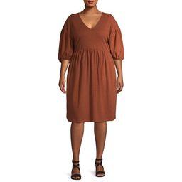 Terra & Sky Women's Plus Size V-Neck Puff Sleeve Dress   Walmart (US)