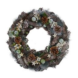 """20"""""""" Frosted Pine Cone Apples & Bay Leaves Artificial Christmas Wreath, Unlit By Northlight 