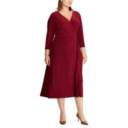 Plus Size Chaps Midi Faux-Wrap Dress, Women's, Size: 22 W, Dark Red | Kohl's