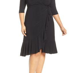 Plus Size Women's Kiyonna Whimsy Wrap Dress, Size 4X - Black | Nordstrom