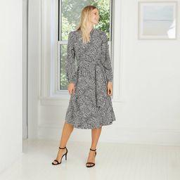 Women's Geometric Print Long Sleeve Tie Waist Wrap Shirtdress - A New Day™ | Target