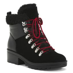 Sherpa And Leather Lug Sole Boots | TJ Maxx