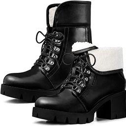 Allegra K Women's Platform Combat Chunky Heel Ankle Boots | Amazon (US)