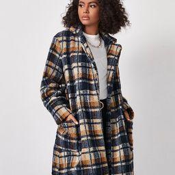 Belted Plaid Teddy Coat | SHEIN